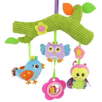 Baby Toys owl bird Cute Cartoon Animal stuff Plush Doll Early Educational rattles bed hanging Stroller Hanging gift