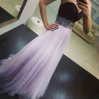 Fashion Women Dress Party Evening Elegant Sleeveless Strapless Cute Chiffon Patchwork Floor Length Long Dress