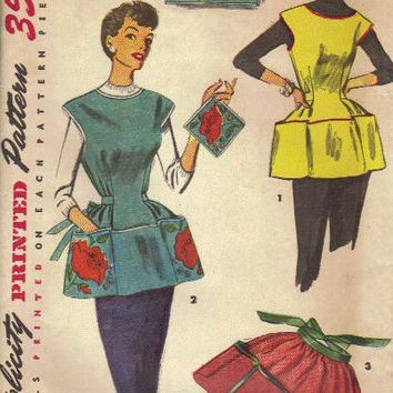 Simplicity Sewing Pattern 1950s Cobbler Full Half Apron 4492 Flower Poppy Transfer Kitchen House Smock Large Tie Waist