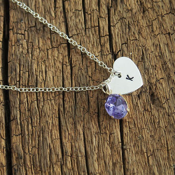 Purple gemstone necklace with hand stamped tags for Bridal lovers, women, Personalized necklace , sterling silver necklace, Best Gift