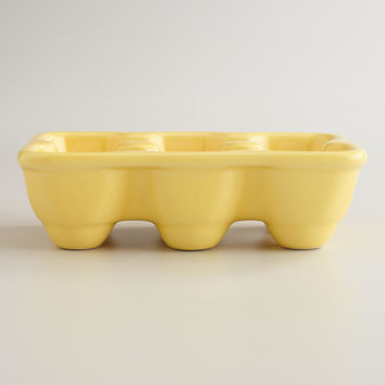 Yellow Ceramic Half Egg Crate - World Market