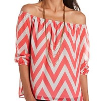 Off-the-Shoulder Chevron Top: Charlotte Russe