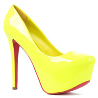 *Sole Boutique Heel Patent Leather Dolls Pump in Yellow
