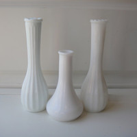 Vintage Milk Glass Vase Set of 3 Three Bud Vases Hoosier French Cottage - Beach Decor -- Farm Decor Shabby Chic - Wedding Decor - Cut Glass