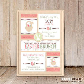 Easter brunch invitation / Printable Easter party invite card / Egg hunt invitations / pink green