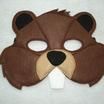 Children's Beaver Felt Woodland Animal Mask