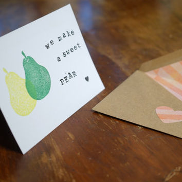 Hand Stamped Greeting Card, Foodie Card, Handmade Card, Custom Envelope, Funny Card, Men Gift, I Love You Card, Boyfriend Gift, Gift for Men