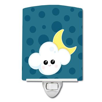 Weather Cloudy Moon Face Ceramic Night Light BB7154CNL
