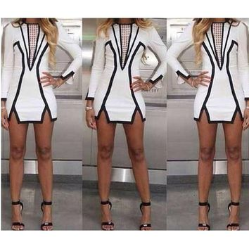 New 2014 Women Spring & Summer Black and White Geometric Above Knee Mini Sexy Party Pencil Dress Vintage Celebrity Brand Dresses