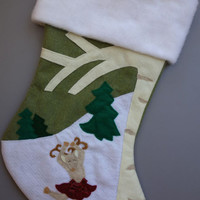 Personalized Christmas Stocking: Dear Deer Girl in a Spinny Skirt