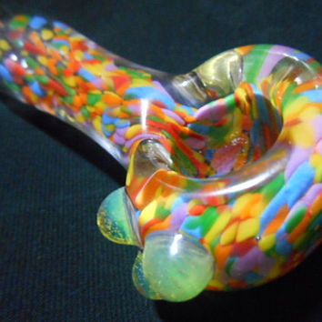 Fruity Loops Colored Glass Pipe with Green Slyme Accents