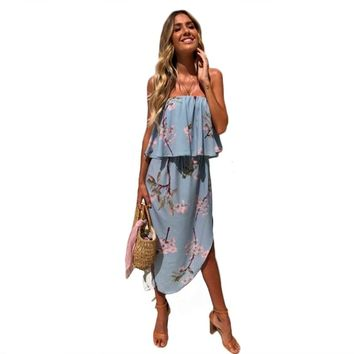 Boho Dress fashion summer women floral strapless sundress Off Shoulder sexy holiday split Ruffles irregular vestidos female