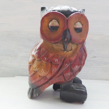 owl wood carving painted