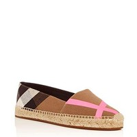 BURBERRY Womens Hodgeson House Check Espadrille Flats Bright Pink