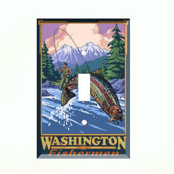 Light Switch Cover - Light Switch Plate Fly Fishing Vintage Washington Travel Poster