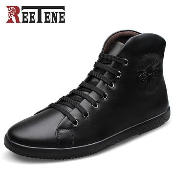 Men Shoes Fashion Black Men Boots Pointed Toe Genuine Leather Hording Riding Boots Winter Men Shoes With Fur