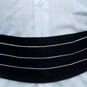 Vintage Tuxedo Cummerbund,Black & White Cummerbund Belt,Lord West 25-52,Made in U.S.A,Groom Wedding Attire,Formal Wear,Black Tie Accessories