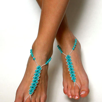 Bright Turquoise Barefoot Sandals Beaded Sandals Something Blue Wedding Jewelry Bridal Jewelry Beach Wedding Accessories Anklet Foot Jewelry