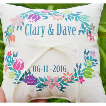 floral wreath ring pillow, Personalized wedding pillow, floral wreath Wedding pillow ,personalized ring pillow, save the date pillow (R33)