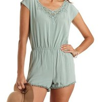 Pom-Pom Trimmed Tie-Back Romper by Charlotte Russe