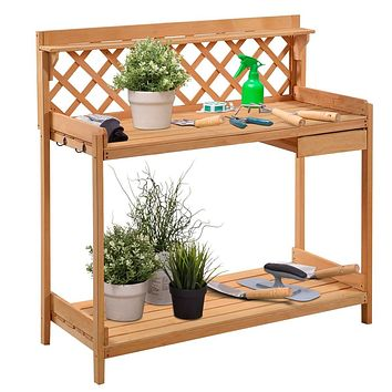 Outdoor Home Garden Wooden Potting Bench with Storage Drawer
