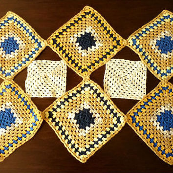 Handmade Colored Rectangle Crochet Doily, Large Table Doily, Vintage Tableware, Blue and Yellow