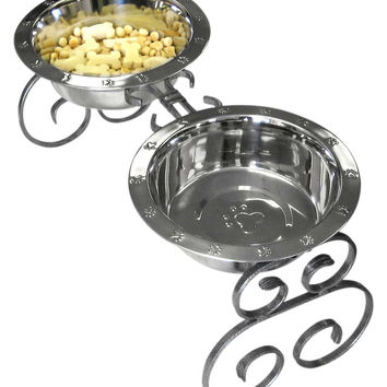 """Wrought Iron Elevated Dog Food Feeder - Diner, 10"""""""