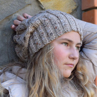 6bc0ccb0036a Slouchy knit beanie-Womens girls teenagers hat-hand knitted chunky beanie-slouch  hat