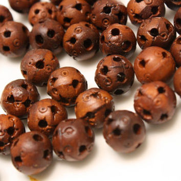 Wood Beads Pierced Carved Wood Rounds 10 mm Diameter Lot of 10 Beads