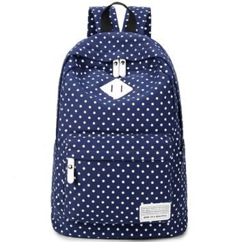 Polka Dots Navy Cute Travel Bag Canvas Casual Backpack