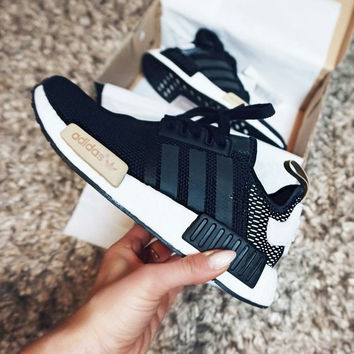 "2017 ""Adidas"" NMD Fashion Trending Women Leisure Running Sports Shoes Mesh Black(khaki logo soles)"