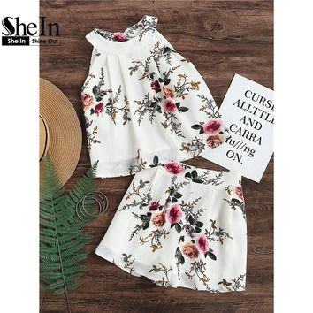 SheIn Womens Two Piece Sets 2017 Summer Ladies Flower Print Sleeveless Keyhole Tie Back Pleated Halter Top and Shorts Set