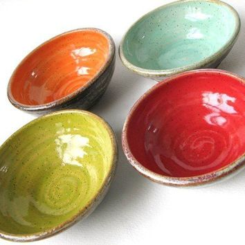 Set of Four Small and Colorful Prep Bowls by LynnCardwellPottery