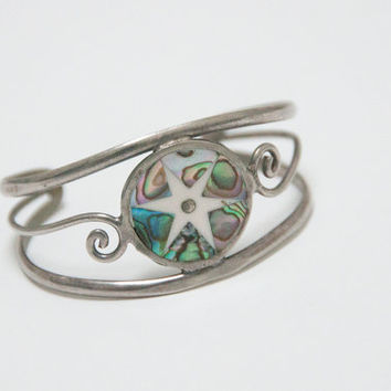 Alpaca Silver and Abalone Inlaid Cuff Bracelet | 925 Sterling Mexican Native Ethnic MOP Mother of Pearl Wire Cuff