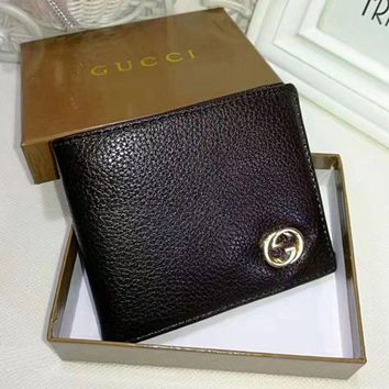 Gucci Men Leather Purse Wallet Brown I