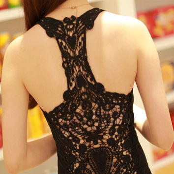 Womens Tank top Sexy lace tops Crochet Back Hollow-out woman Vest Camisole lace Vest SM6