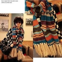 Bohemia Style Beautiful Jacquard Weave Tassel Embellished Knitted Scarf China Wholesale - Sammydress.com