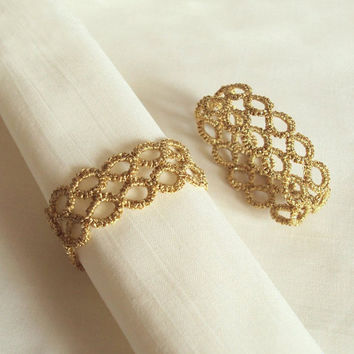 Gold Napkin Rings in Tatting - Party Table Decor - Contemporary Geometric Pattern - Marie - Set of Two