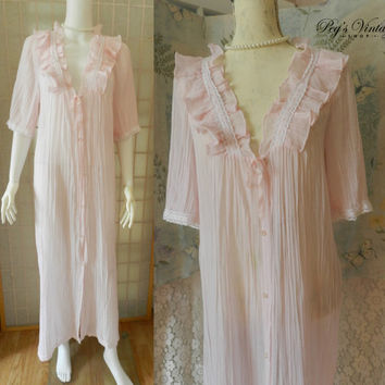 Vintage Linda Lingerie Blush Pink Peignoir Nightgown Robe, Accordion Pleat Chiffon Lace Trim Robe, Ruffle Collar Shabby Chic Dress Size M
