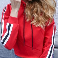 Red Striped Drawstring Crop Hooded Long Sleeve Casual Pullover Sweatshirt