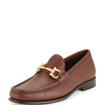 Mason Textured Calfskin Gancini Loafer, Light Brown - Salvatore Ferragamo
