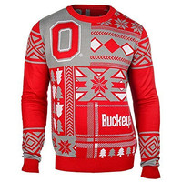 NCAA Ohio State Buckeyes Patches Ugly Sweater, Red, Small