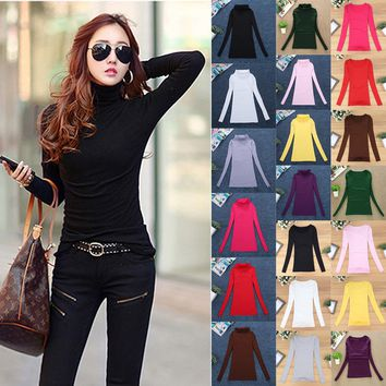 10 Colors Women Elastic Sweaters Autumn Winter Wool Turtleneck Pullover Long Sleeve Basic Tops Shirts Female Slim Solid Jumper