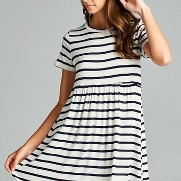 Ivory/Black Stripe Baby Doll Dress