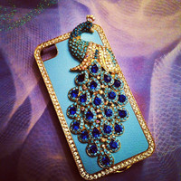 iPhone 5 Sapphire Blue Peacock and Jewel Crystals with Gold outline bling 3D case