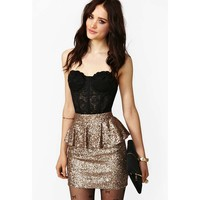Floral Lace Strapless Bustier-Black