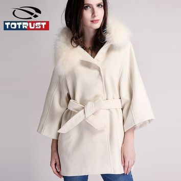 TOTRUST White Women Raccoon Fur Cloak and Poncho Winter 2017 Fashion New Hooded Cashmere Wool Coat Black Slim Woolen Coat Women