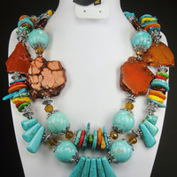 MULTICOLOR / Howlite TURQUOISE Chunky Western Cowgirl Necklace -  GUaDaLuPe ll