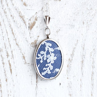 Textile necklace with blue floral lace and blue fabric - bridesmaid jewelry, Mother's day gift