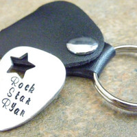 Father's Day Personalized Guitar Pick Hand Stamped Guitar pick Rock Star Father's Day Gift, Groomsmen, Music Teacher